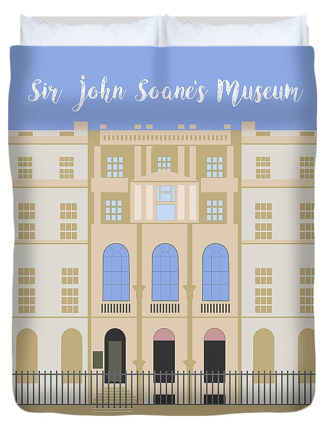 Blue Duvet Cover featuring the digital art Sir John Soane's Museum by Claire Huntley