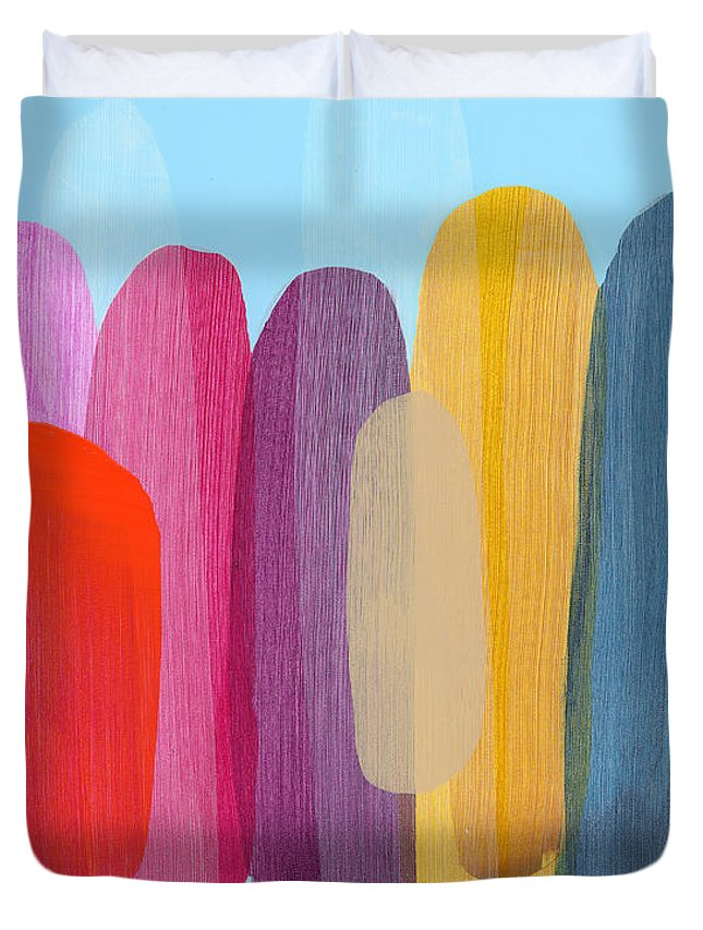 Abstract Duvet Cover featuring the painting Sister 02 by Claire Desjardins