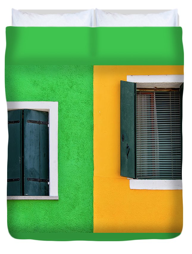 Tranquility Duvet Cover featuring the photograph Sisters Windows, Burano, Italy by Stefan Cioata
