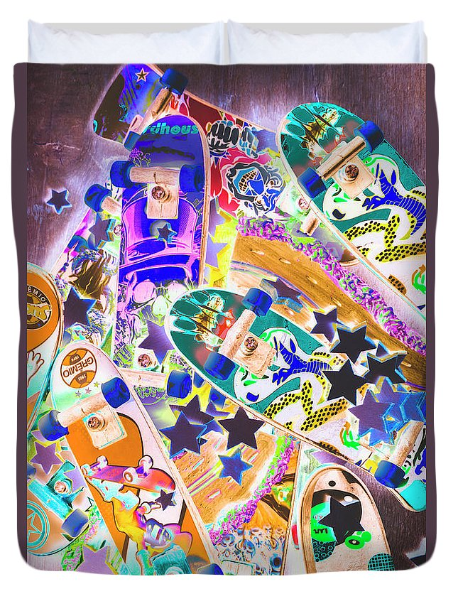 Skateboard Duvet Cover featuring the photograph Skating Stars by Jorgo Photography - Wall Art Gallery