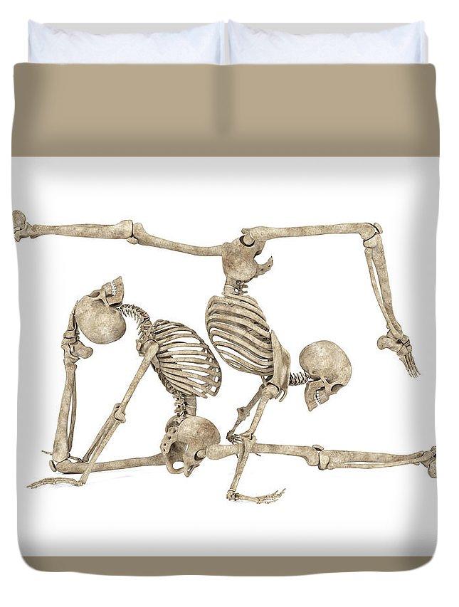 Skeleton Duvet Cover featuring the digital art Skeleton Yoga 004 by Betsy Knapp
