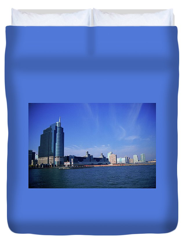 Built Structure Duvet Cover featuring the photograph Skyline, Jersey City, Nj by Barry Winiker