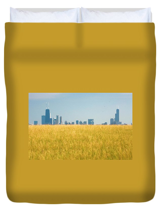 Grass Duvet Cover featuring the photograph Skyscrapers Arising From Grass by By Ken Ilio