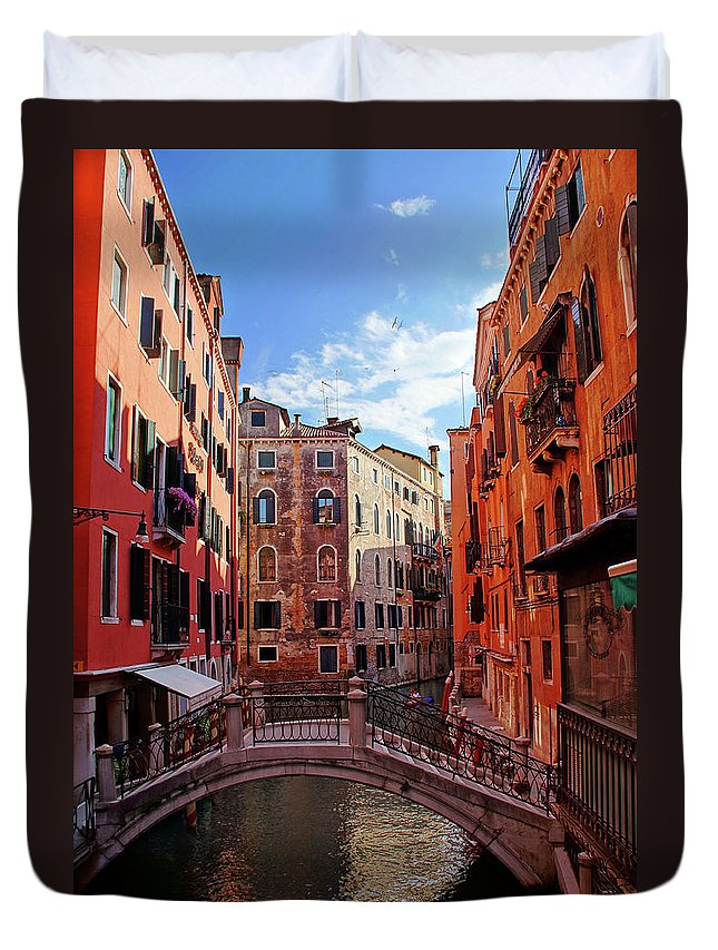 Arch Duvet Cover featuring the photograph Small Canals In Venice Italy by Totororo