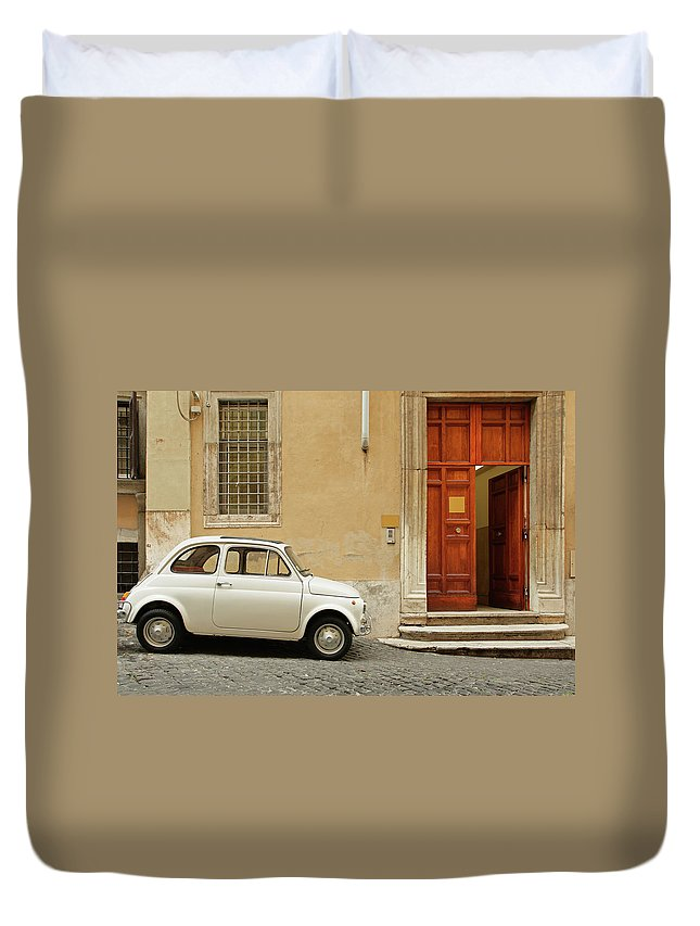 Steps Duvet Cover featuring the photograph Small Coupe Parked Near A Doorway On A by S. Greg Panosian