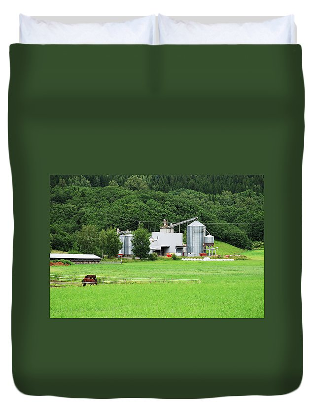 Field Duvet Cover featuring the photograph Small Factory Between Green Field And by Oks mit