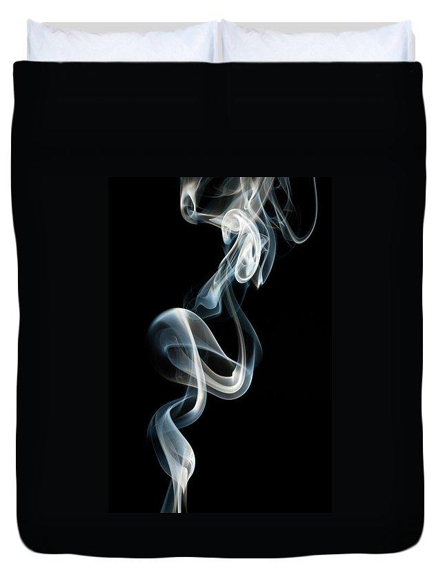 Black Background Duvet Cover featuring the photograph Smoke by Vando Nascimento