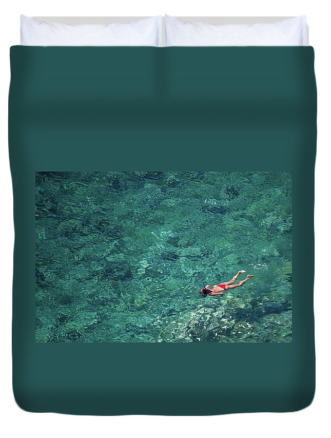 Recreational Pursuit Duvet Cover featuring the photograph Snorkeling In The Mediterranean Sea by Photovideostock