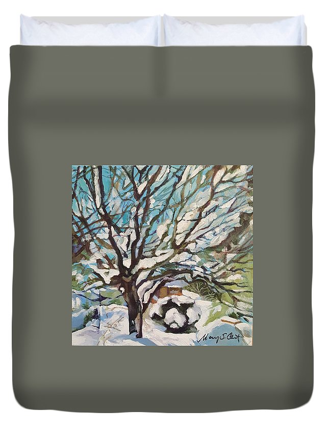 Cherry Tree Duvet Cover featuring the painting Snow Covered Cherry Tree by Mary Chant
