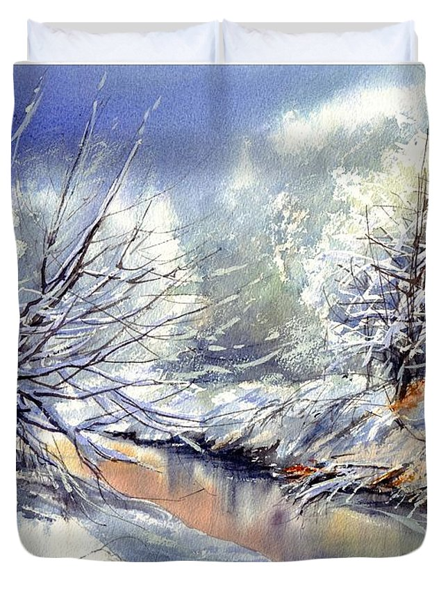 Winter Duvet Cover featuring the painting Snow Flurry by Suzann Sines