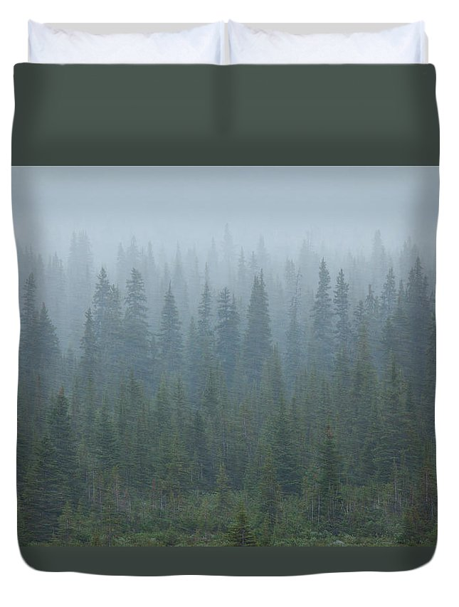 Unesco Duvet Cover featuring the photograph Snow Storm In The Forests Of Jasper by Mint Images/ Art Wolfe