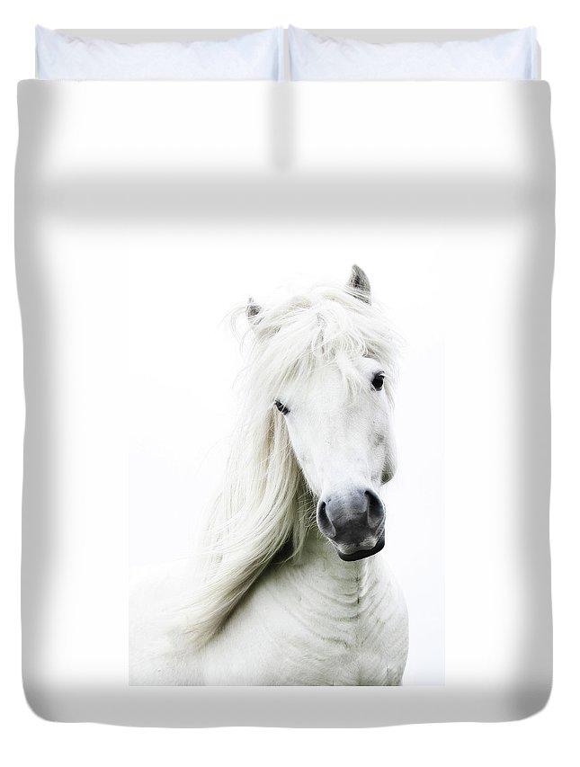 Horse Duvet Cover featuring the photograph Snowhite by Gigja Einarsdottir
