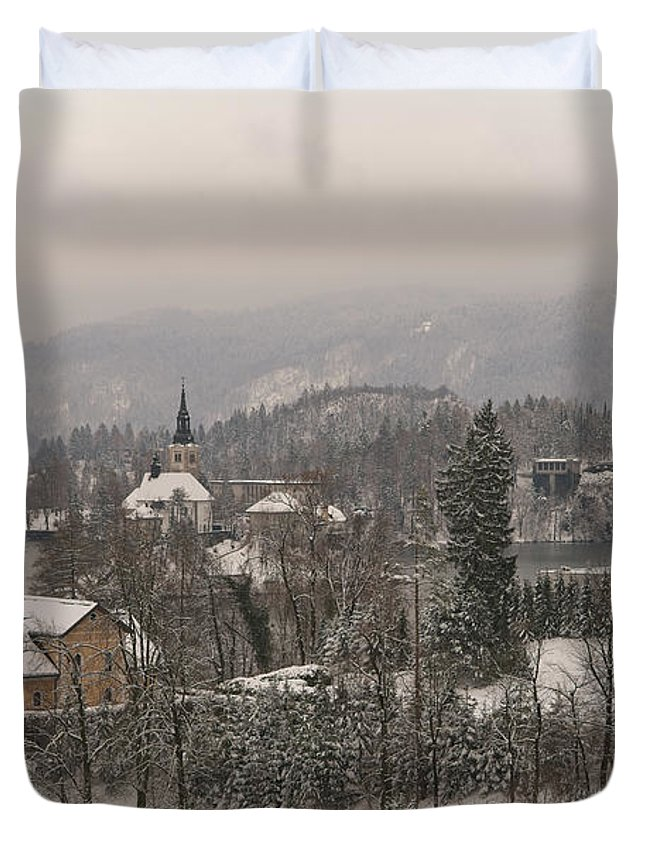 Christmas Duvet Cover featuring the photograph Snowy Bled In Slovenia by MSVRVisual Rawshutterbug