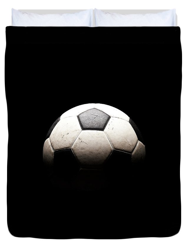 Shadow Duvet Cover featuring the photograph Soccer Ball In Shadows by Thomas Northcut