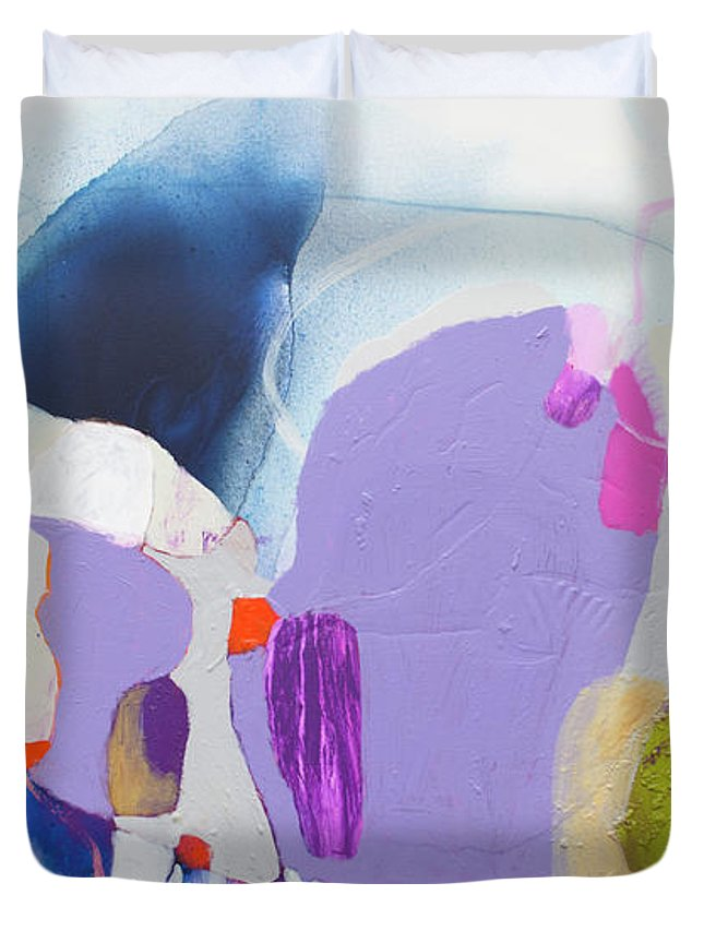 Abstract Duvet Cover featuring the painting Sometime In June by Claire Desjardins