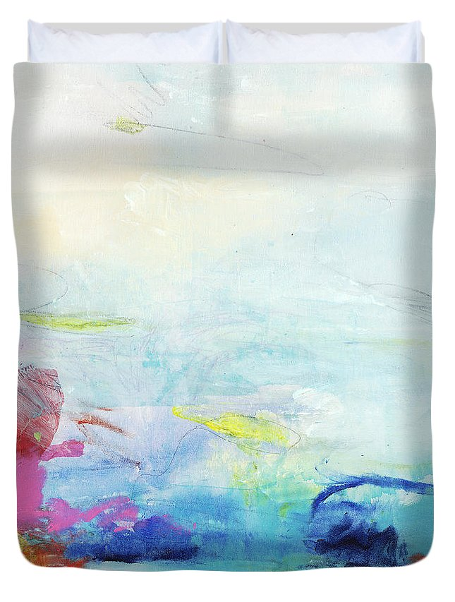 Abstract Duvet Cover featuring the painting Somewhere Else by Claire Desjardins