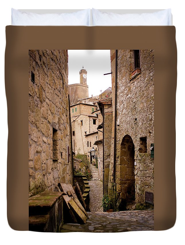 Tranquility Duvet Cover featuring the photograph Sorano, Clock Tower by Luca Deravignone