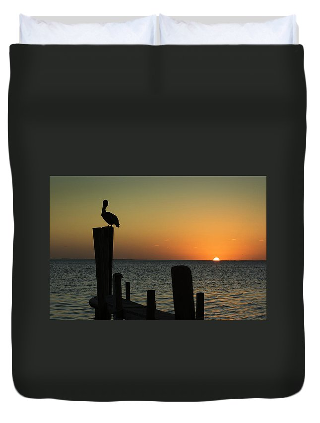 Orange Color Duvet Cover featuring the photograph South Padre Island, Texas Sunset With by Yangyin