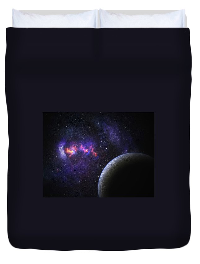 Orange Color Duvet Cover featuring the photograph Space Planet by Sololos