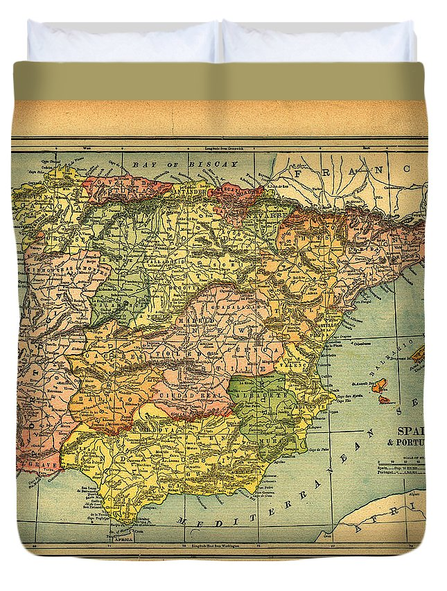 Weathered Duvet Cover featuring the photograph Spain & Portugal Vintage Map by Belterz