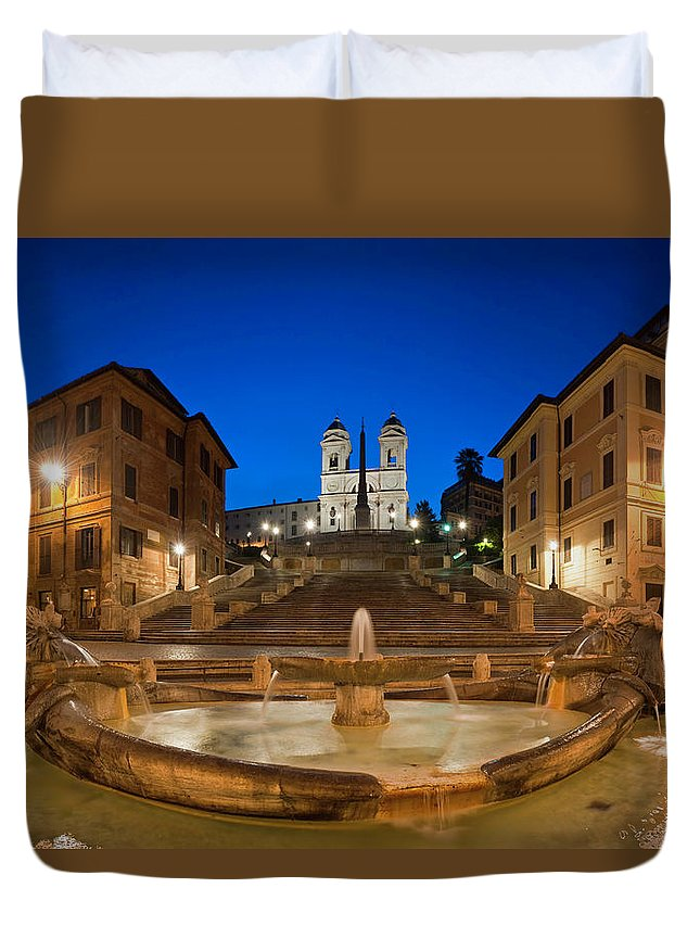 Steps Duvet Cover featuring the photograph Spanish Steps Piazza Di Spagna Fontana by Fotovoyager