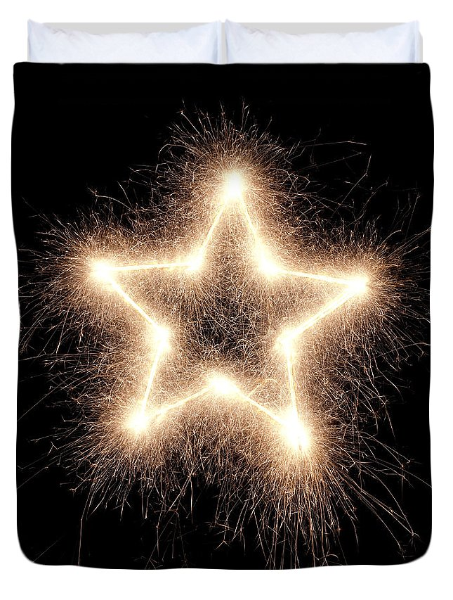 Holiday Duvet Cover featuring the photograph Sparkling Star by Amriphoto
