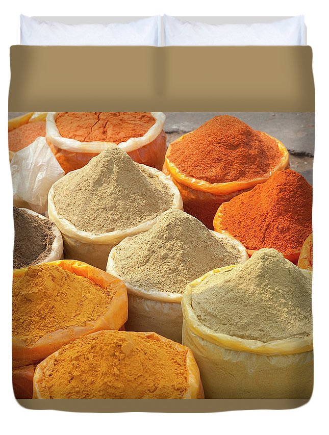 New Delhi Duvet Cover featuring the photograph Spice Display by Grant Faint