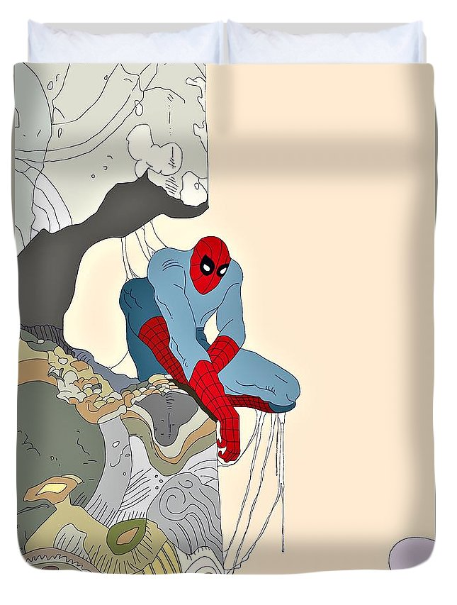 Spiderman Duvet Cover featuring the painting Spiderman by ArtMarketJapan