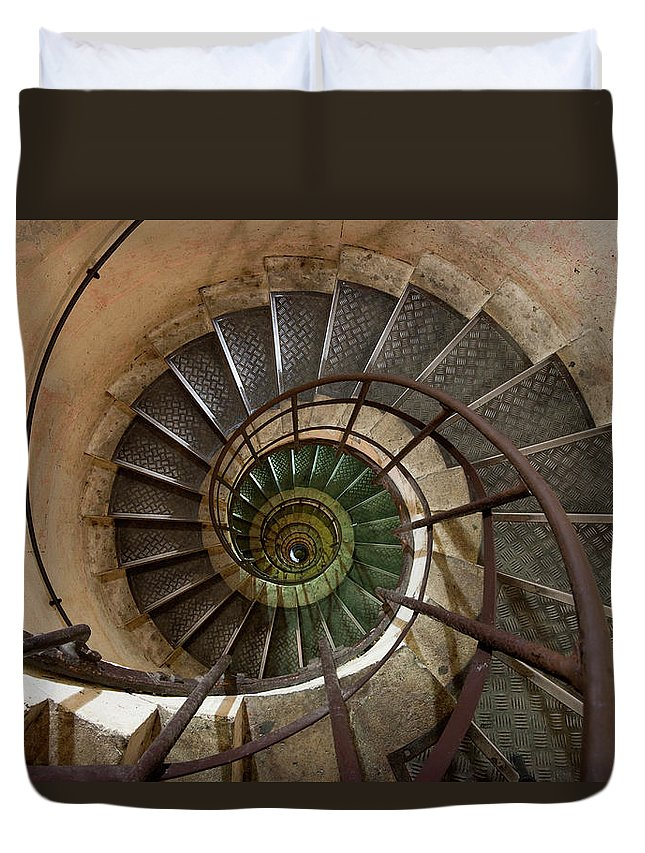 Built Structure Duvet Cover featuring the photograph Spiral Staircase In The Arc De by Mint Images/ Art Wolfe