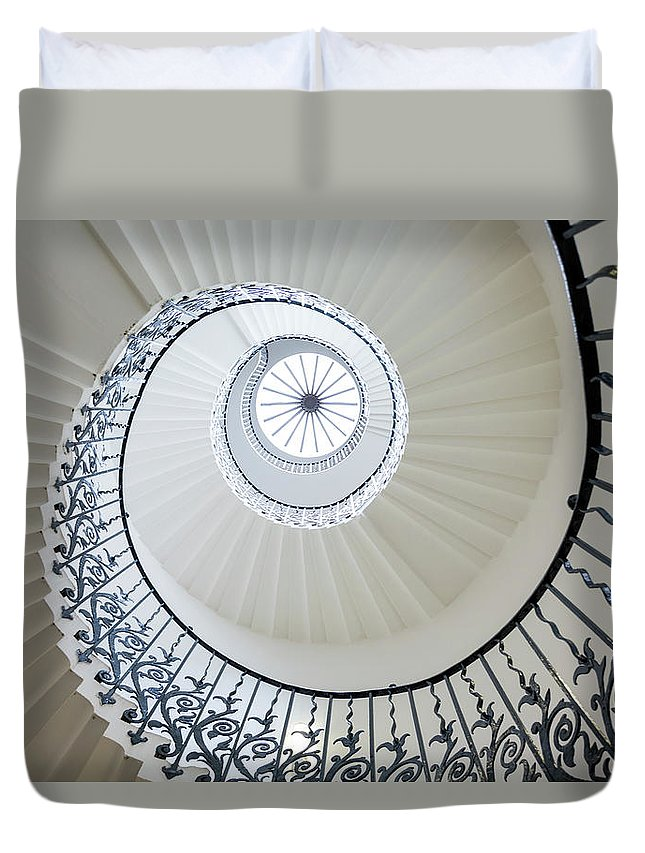 Queen's House Duvet Cover featuring the photograph Spiral Staircase, The Queens House by Peter Adams