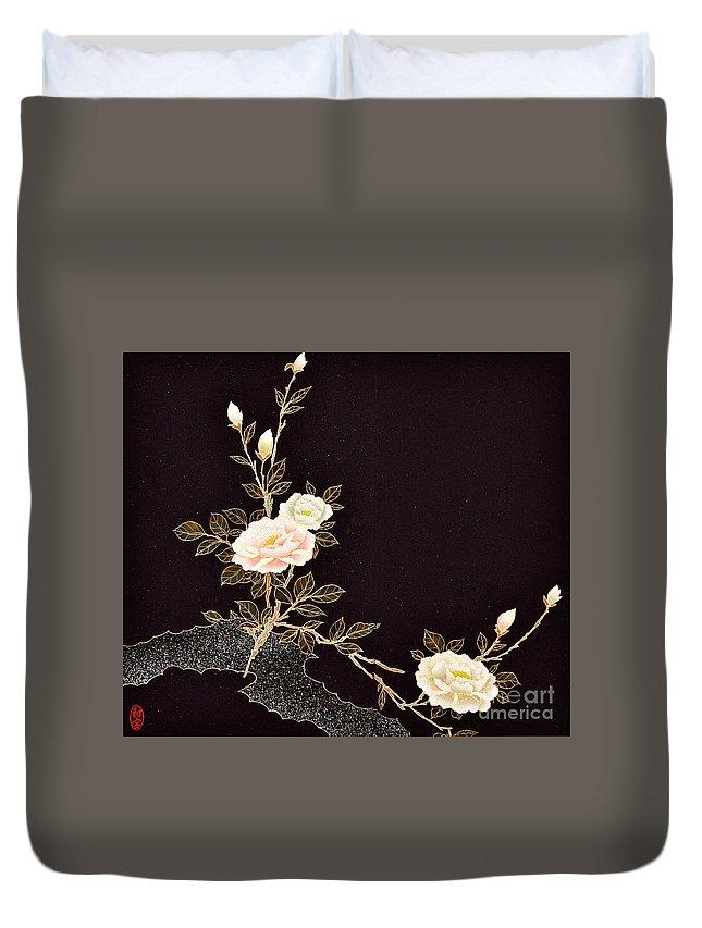 Duvet Cover featuring the digital art Spirit of Japan H7 by Miho Kanamori