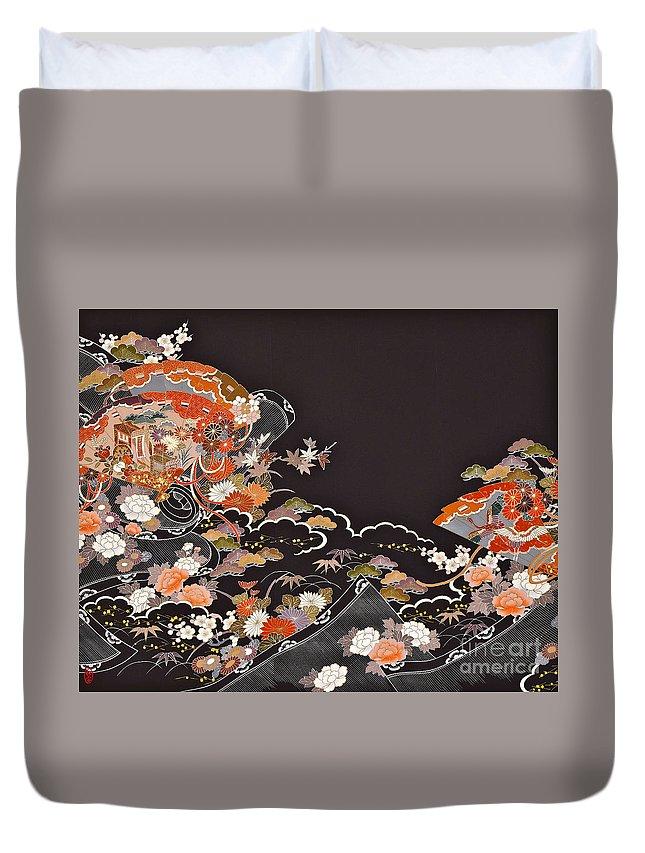 Duvet Cover featuring the digital art Spirit of Japan T15 by Miho Kanamori
