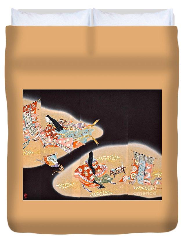 Duvet Cover featuring the digital art Spirit of Japan T16 by Miho Kanamori