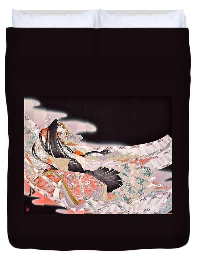 Duvet Cover featuring the digital art Spirit of Japan T22 by Miho Kanamori