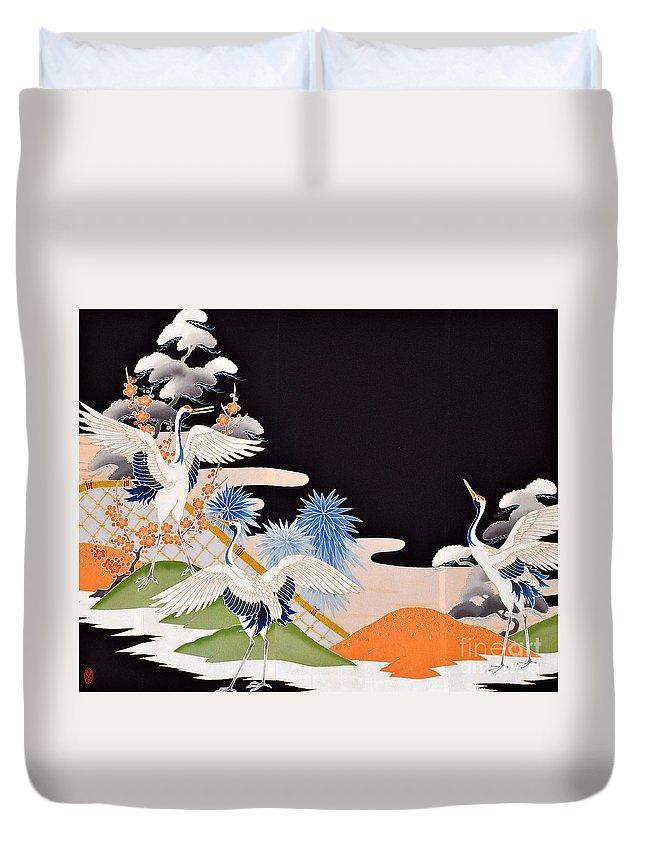 Duvet Cover featuring the digital art Spirit of Japan T7 by Miho Kanamori