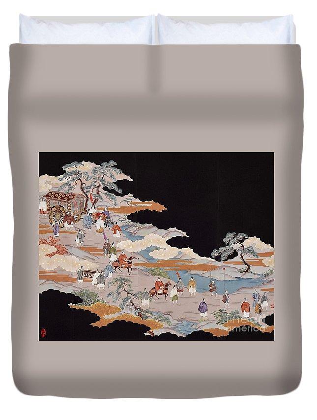 Duvet Cover featuring the digital art Spirit of Japan T85 by Miho Kanamori