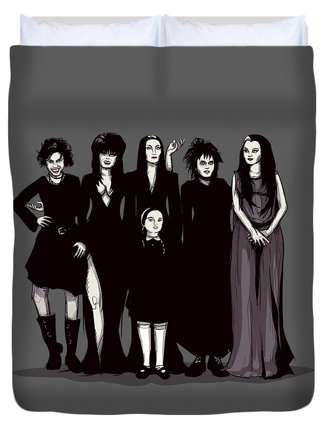 Craft Duvet Cover featuring the drawing Spooky Girls by Ludwig Van Bacon
