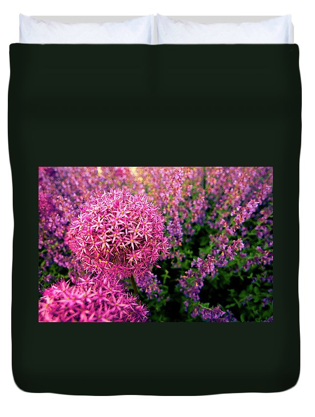 Purple Duvet Cover featuring the photograph Spring Flowers In Garden by Flash Parker