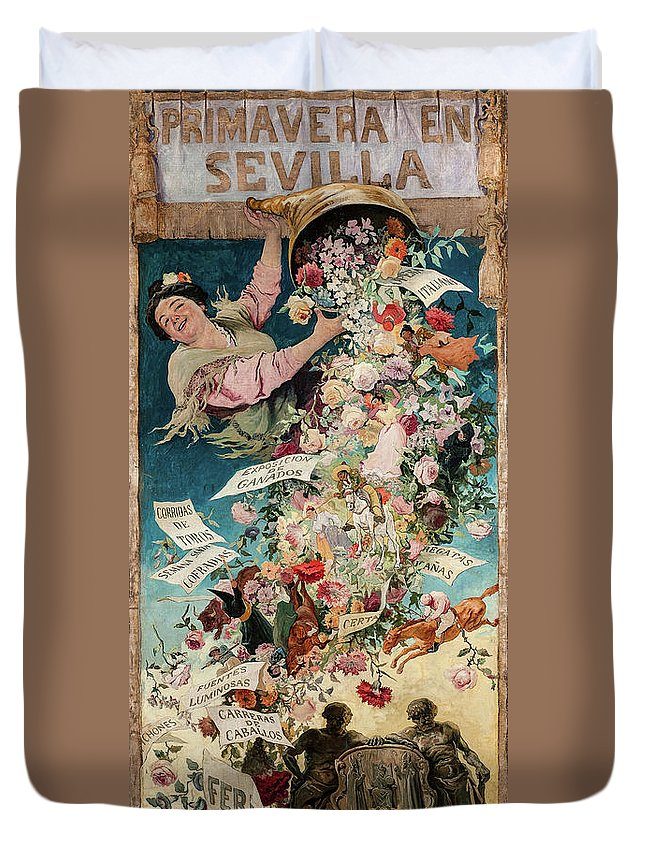 Jose Jimenez Aranda Duvet Cover featuring the painting Spring In Seville, 1903 by Jose Jimenez Aranda
