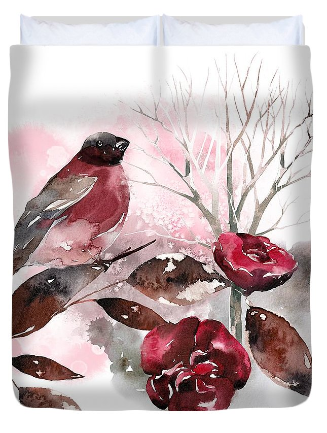 Bird Duvet Cover featuring the painting Spring Rests In The Heart Of Winter by Little Bunny Sunshine