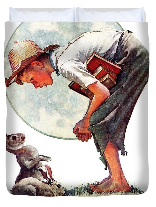 Books Duvet Cover featuring the drawing springtime, 1935 Boy With Bunny by Norman Rockwell