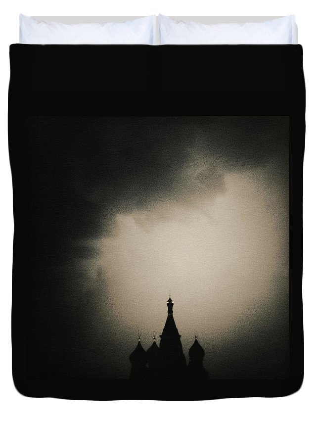 Red Square Duvet Cover featuring the photograph St. Basils Cathedral by Mel Curtis