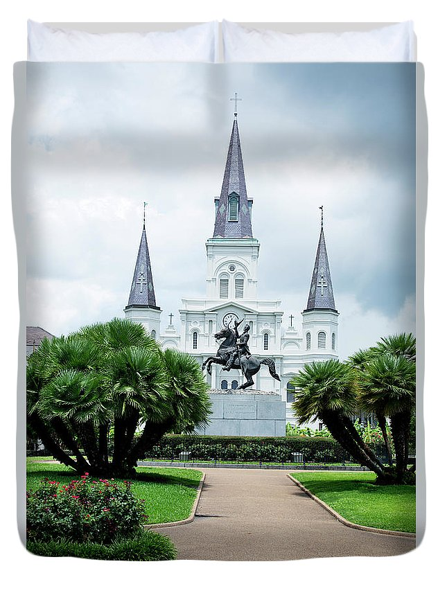 Scenics Duvet Cover featuring the photograph St. Louis Cathedral Jackson Square by Alina555
