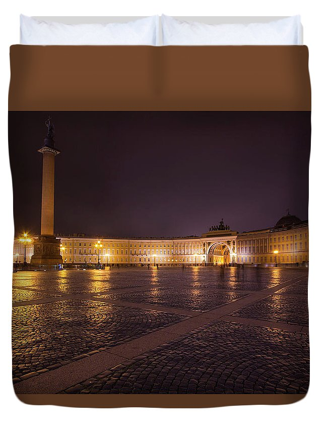City Duvet Cover featuring the photograph St. Petersburg Palace Square by Judy Hess
