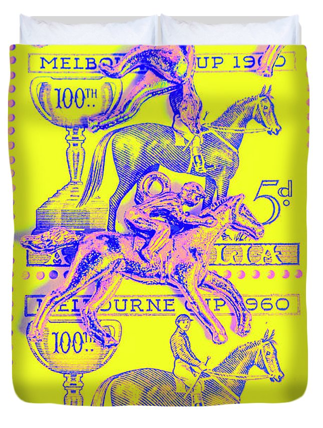 Retro Duvet Cover featuring the photograph Stamps And Stallions by Jorgo Photography - Wall Art Gallery