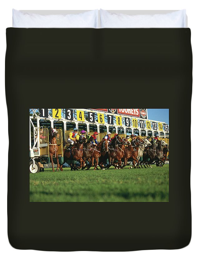Horse Duvet Cover featuring the photograph Start Of Horse Race, Sydney, New South by Oliver Strewe