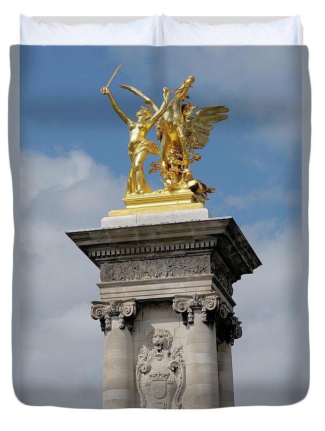 Statue Duvet Cover featuring the photograph Statue, Alexandre 3 Bridge In Paris by Riou