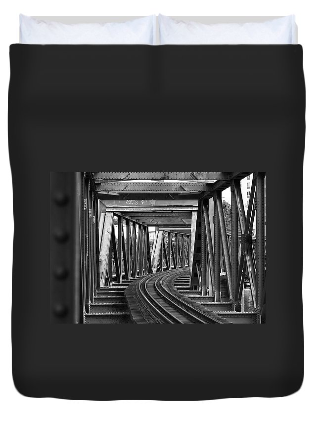 Railroad Track Duvet Cover featuring the photograph Steel Girder Railway Bridge by Peterjseager