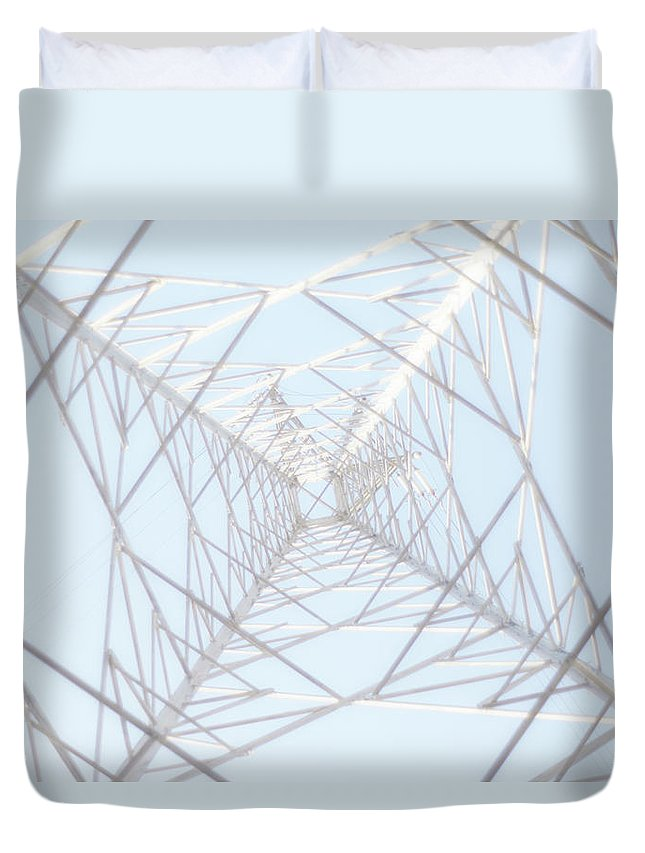 Radial Symmetry Duvet Cover featuring the photograph Steel Tower by Kaneko Ryo