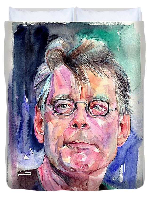 Stephen King Duvet Cover featuring the painting Stephen King Portrait by Suzann Sines